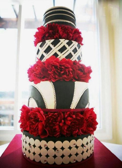 Red Flower Wedding Cake
