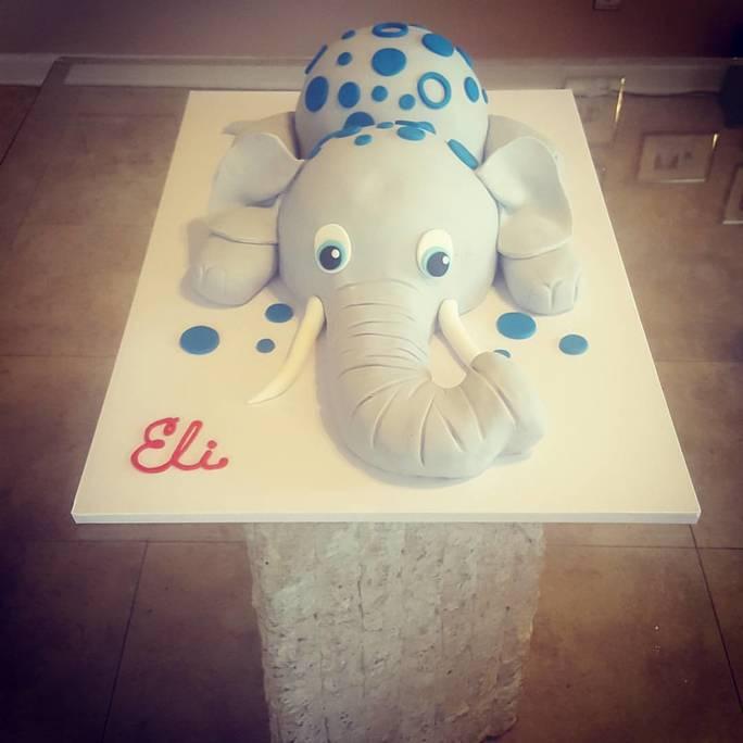 Custom Elephant Baby Shower Cake